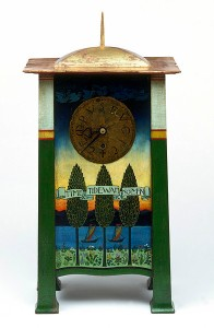 """Nothing is more difficult for these characters than growing up. A clock from the Victoria and Albert Museum. C.F.A. Voysey, 1895, inscribed """"Time and Tide Waits for No Man,"""" and """"Tempus Fugit"""""""