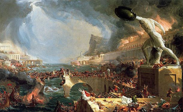 My company does not insure for situations like this. Thomas Cole, The Course of an Empire: Destruction, 1836.