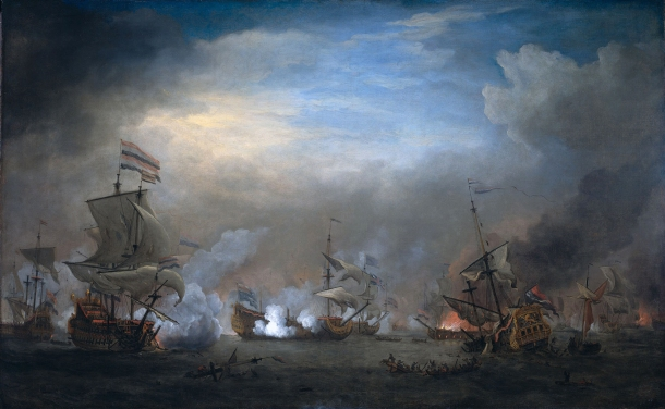 """Nightly Fighting Between Cornelis Tromp on the 'Gouden Leeuw' and Sir Edward Spragg on the 'Royal Prince' During the Battle of Texel (Kijkduin) on August 21, 1673: Episode From the Third Anglo-Dutch War (1672-74)""."