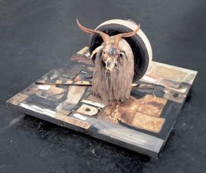 Robert Rauschenberg, Monogram. 1955-59. mixed mediums with taxidermy goat, rubber tire and tennis ball, ca. 42 x 63 x 65 in., Moderna Museet, Stockholm (Artnet Magazine)