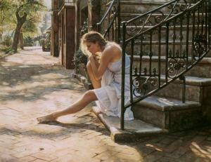 The heroine is the literary equivalent of this chick. She's thinking about how she's going to skip dinner tonight while she sews her own clothes. (Watercolour by Steve Hanks)