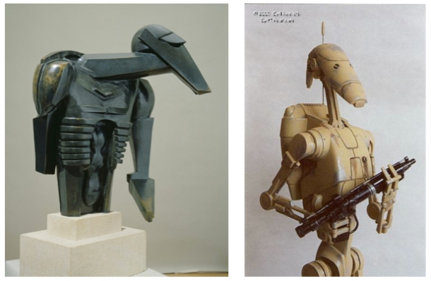 Left: Torso in Metal from 'The Rock Drill' (1913-14) - THIS WAS SCULPTED A CENTURY AGO!!! Right: Battle Droid from Star wars Phantom Menace (1999) - SOMEHOW FAILED TO KILL JAR JAR BINKS!!!