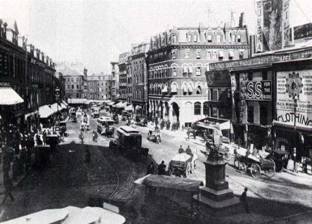 Photograph of Scollay Square, Boston, 1880.