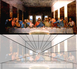 One point perspective in The Last Supper.