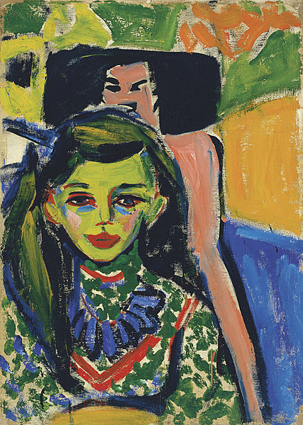 A piece by one of the members of the Die Brucke artists, Ernst Ludwig Kirchner, Fränzi in front of Carved Chair, 1910, oil on canvas