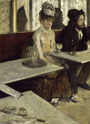 Degas, In a Cafe or The Absinthe, 1873, oil on canvas,  Musée d'Orsay.