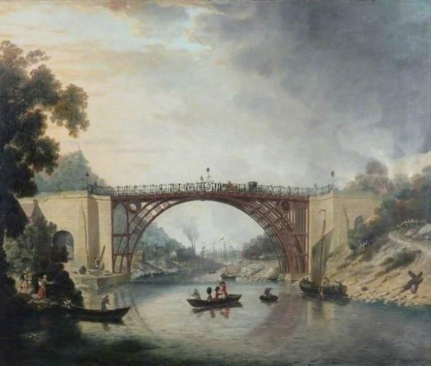 "William Williams, ""The Cast Iron Bridge near Coalbrookdale,"" 1780, Oil on canvas, Ironbridge Gorge Museum Trust"