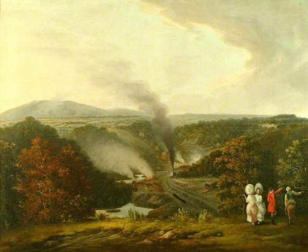 """Who wouldn't dress in white to go watch steam trains in the country? Williams, """"Afternoon View of Coalbrookdale, Shropshire,"""" 1777, Shrewsbury Museum and Art Gallery."""