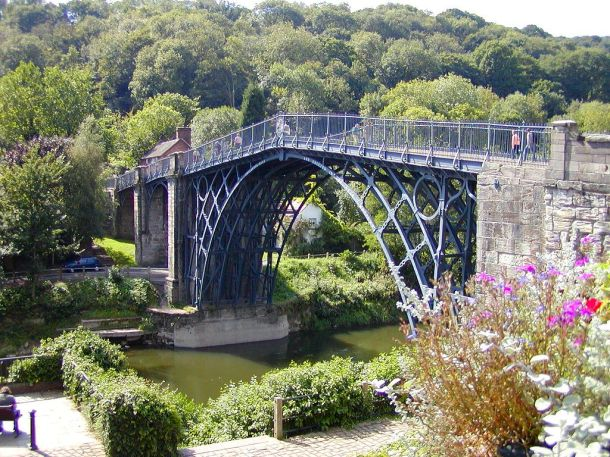 Ironbridge in Shropshire. You can still walk over it today, 234 years after its construction.