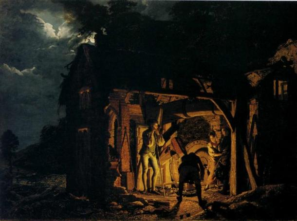 """This painting remains part of the Hermitage collection. """"An Iron Forge Viewed from Without,"""" 1773, Oil on canvas."""