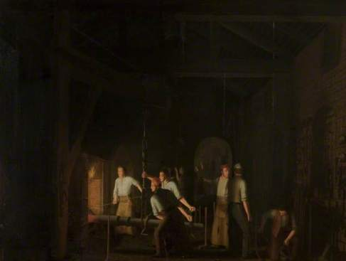 """James Sharples, """"The Forge,"""" 1847, oil on canvas, Blackburn Museum and Art Gallery"""