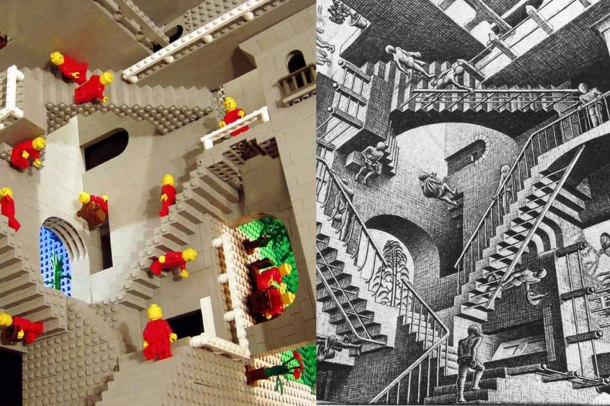 "Left: MC Escher's ""Relativity,"" (1953) done in Lego (2012)Right: MC Escher, no longer underground enough for me to appreciate"