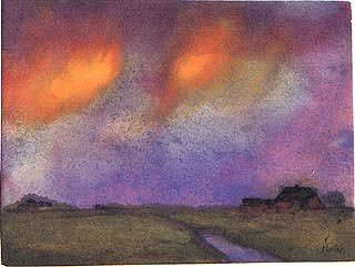Marshy Landscape Under the Evening Sky, 1943, watercolor.