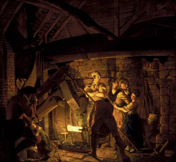 Caution: Please do not act this way around an actual iron forge. Joseph Wright of Derby, An Iron Forge, 1772. Oil on Canvas, Tate Britain