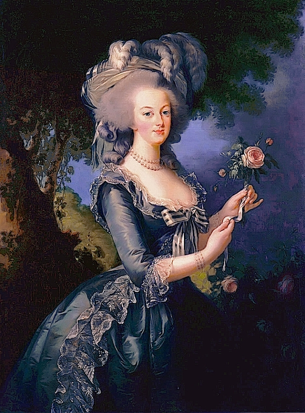 This portrait of Marie Antoinette (1783) still hangs in the palace of Versailles. For more on the Queen's costume, click on the image.