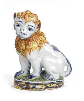 Delft polychrome figure of a lion, 18th century, 18 cm high.