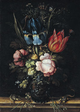 Even though this is realistic looking, the flowers in the vase actually bloom at different times of year. Roelandt Savery, Flowers in a Glass, 1613, The National Gallery.