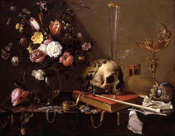 Adriaen van Utrecht, Vanitas Still Life with Bouquet and a Skull, c. 1642. Private Collection.