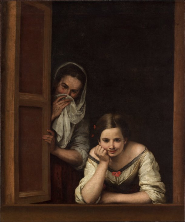 Just what is it that makes Murillo's art so different, so appealing?  Two Women at a Window. c. 1655/1660 oil on canvas, 125.1 x 104.5 cm, National Gallery of Art, DC
