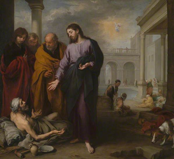 Lying on the ground has never been such a clean pursuit. Christ healing the Paralytic at the Pool of Bethesda 1667-70 Oil on canvas, 237 x 261 cm, The National Gallery, London.