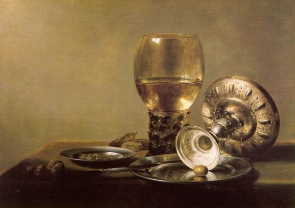 Pieter Claesz, Still Life with Wine Glass and Silver Bowl, c 1630, Staatliche Museum, Berlin