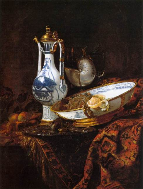 Willem Kalf, Still Life with Aquamanile, Fruit, and a Nautilus Cup, c. 1660. Oil on canvas, 111 x 84 cm Museo Thyssen-Bornemisza, Madrid.