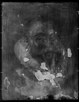 By an unknown artist  oil on panel, late sixteenth century. X-ray image of NPG 1704. You can see the outline of the head of the Virgin on the right, over his left eye. (c) National Portrait Gallery, London