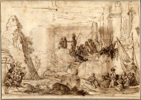 Biblical figures set in a landscape of Classical ruins. Pen and brown ink, 180 x 250 mm © The Trustees of the British Museum.