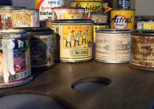 Cans from the historic paint collection of the Art Institute of Chicago.