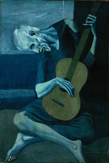 Picasso, The Old Guitarist, 1903. Oil on panel 48 3/8 x 32 1/2 in (122.9 x 82.6 cm), Art Institute of Chicago