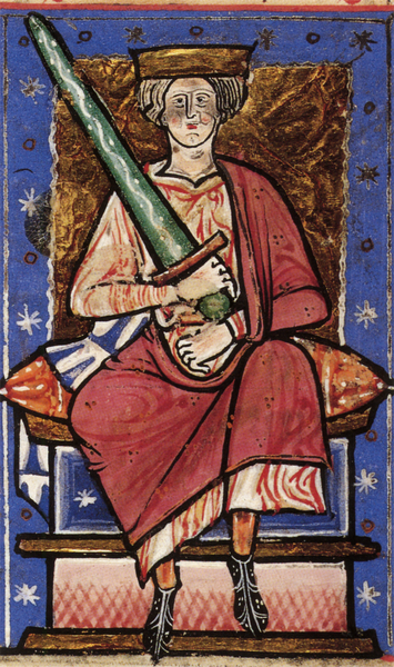 Sometimes, even with a super big sword, you just aren't ready. Posthumous image of Aethelred (c.968-1016) from the Chronicle of Abingdon, c. 1220.