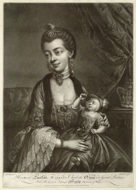 Charlotte Sophia of Mecklenburg-Strelitz; King George IV when Prince of Wales by Richard Houston, published by Robert Sayer, after Robert Pyle, mezzotint, mid 1760s, 19 3/4 in. x 13 7/8 in.