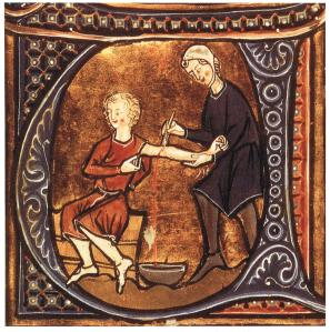 Late Medieval manuscript illumination demonstrating bleeding.