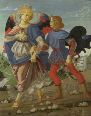 A possible collaborative work between Verrocchio and Leonardo. Tobias and the Angel, 1470-75. Oil on panel, 83.6 x 66 cm, National Gallery, London