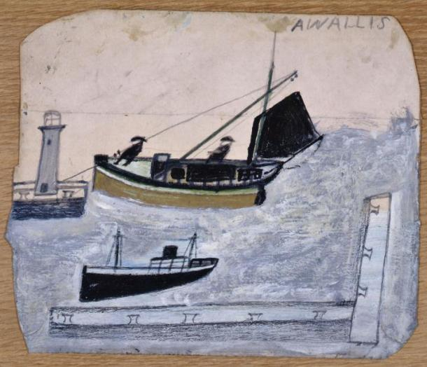 Wallis, Two Fishermen in their Boat with One Mast Steeped, n.d. Oil on card, 192 x 226 mm, Kettle's Yard, University of Cambridge.