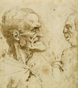 Leonardo da Vinci, Two grotesque profiles confronted, 1485-90. Pen and ink, The Royal Collection.