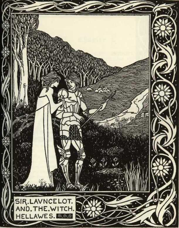 """Lancelot and the Witch Hellawes"" from Le Morte d'Arthur, by Thomas Mallory, published by J.M. Dent and Co, 1893."