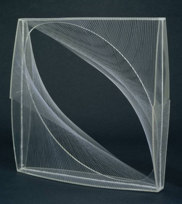Gabo, Linear Construction No. 1, 1942-3. Perspex and nylon, 349 x 349 x 89 mm, Tate.
