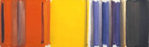 Peter Heron, Scarlet, Lemon and Ultramarine, 1957. Oil on canvas, 610 x 1829 mm, Tate.