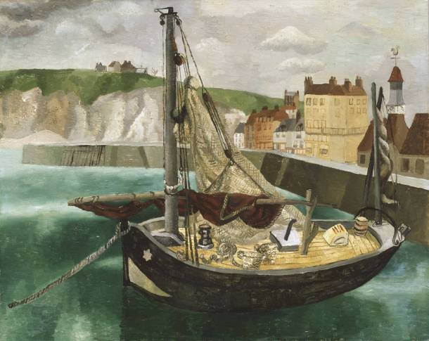 Christopher Wood, A Fishing Boat in Dieppe Harbour, 1929. Oil on canvas, support: 650 x 810 x 19 mm, Tate.