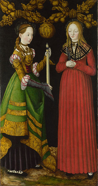 Lucas Cranach the Elder, Saints Genevieve and Apollonia from The St Catherine Altarpiece: Reverses of Shutters, 1506. Oil on panel, 120.5 x 63 cm, National Gallery