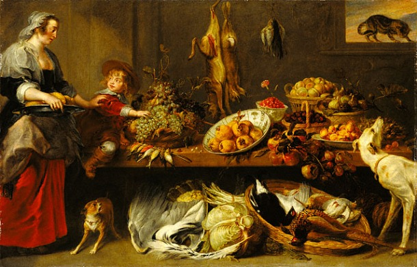 Frans Snyders, Kitchen Still Life with a Maid and a Young Boy, c. 1650. Oil on canvas, 94 1/2 x 60 in, The Getty