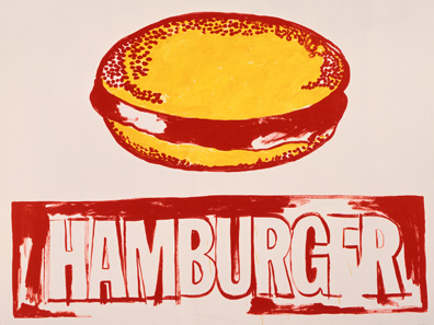 Andy Warhol Hamburger, 1985-1986 acrylic on canvas 50 x 66 x 1 1/4 in. (127 x 167.6 x 3.2 cm.) The Andy Warhol Museum, Pittsburgh