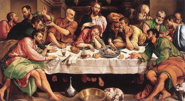 Jacopo Bassano,The Last Supper, c. 1546. Oil on Canvas, 168 × 270 cm Gallaria Borghese.