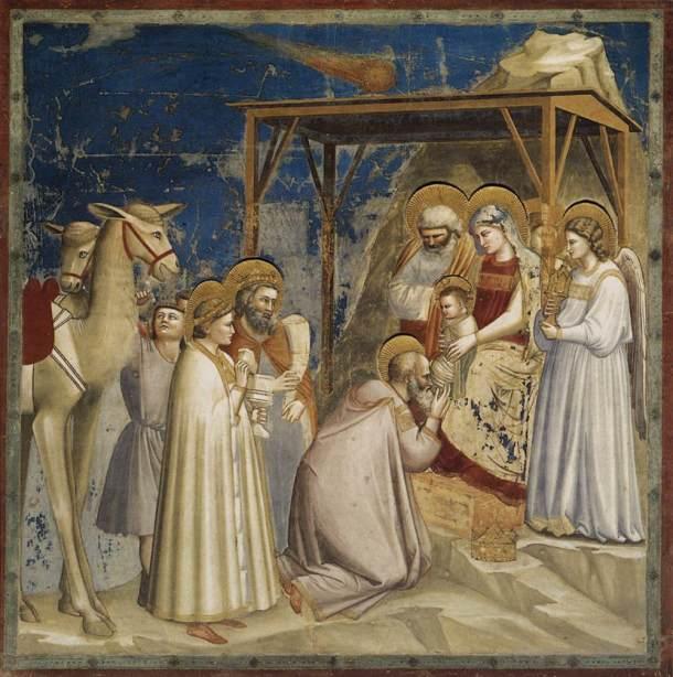 Giotto, No. 18 Scenes from the Life of Christ: 2. Adoration of the Magi 1304-06 Fresco, 200 x 185 cm Cappella Scrovegni (Arena Chapel), Padua