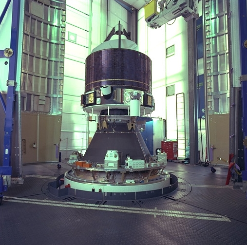 Giotto mounted on top of the Ariane 1 rocket, photo taken 1985, Germany.