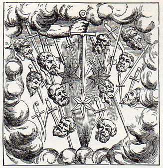 """Though drawn much later, this illustration of the Great Comet of 1528 gives a good idea of the fright the celestial bodies aroused. From Ambroise Pare's Livres de Chirurgie, in a chapter titled """"Des Monstres Celestes."""" Paris, 1597."""