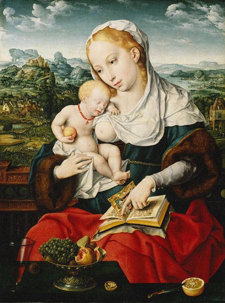 Joos van Cleeve and collaborator, Virgin and Child, 1525. Oil on panel, 28 3/8 x 21 1/4 in. Metropolitan Museum of Art, New York.