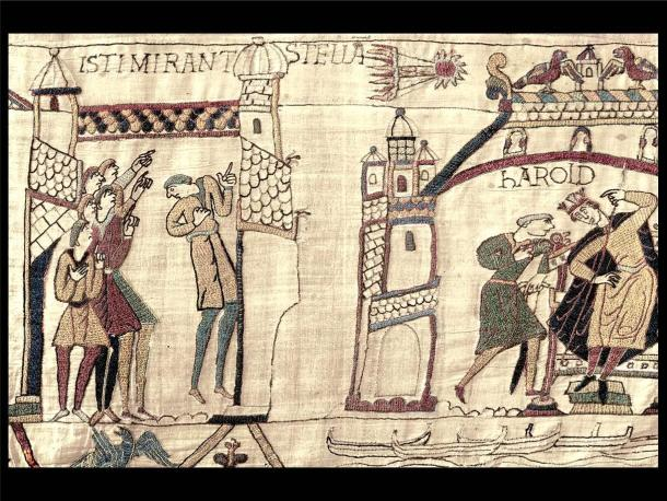 """Isti Mirant Stella, """"These (men) wonder at a star"""") and Harold at Westminster. Fragment from the Bayeux Tapestry, embroidered and completed around the 1080's, now in Reading."""