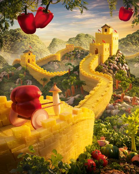 Carl Warner, Great Wall of Pineapple.